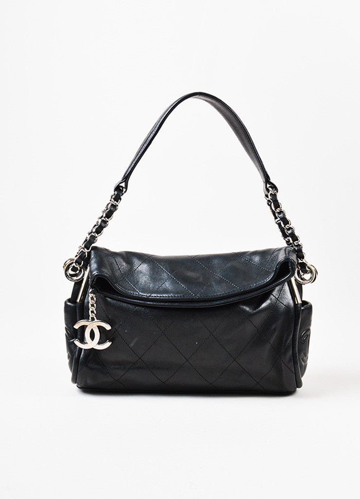 "Black Chanel Lambskin Leather Silver Toned 'CC' Charm ""Small Ultimate Soft"" Bag Frontview"