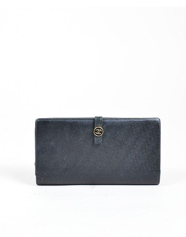 Black Chanel Leather Bifold Continental Wallet Front