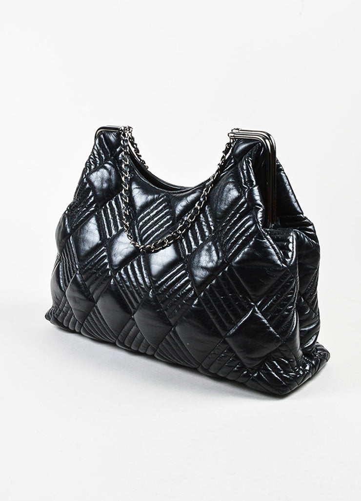 Chanel Black Leather Quilted and Padded 'CC' Detailed Oversize Hobo Bag Sideview