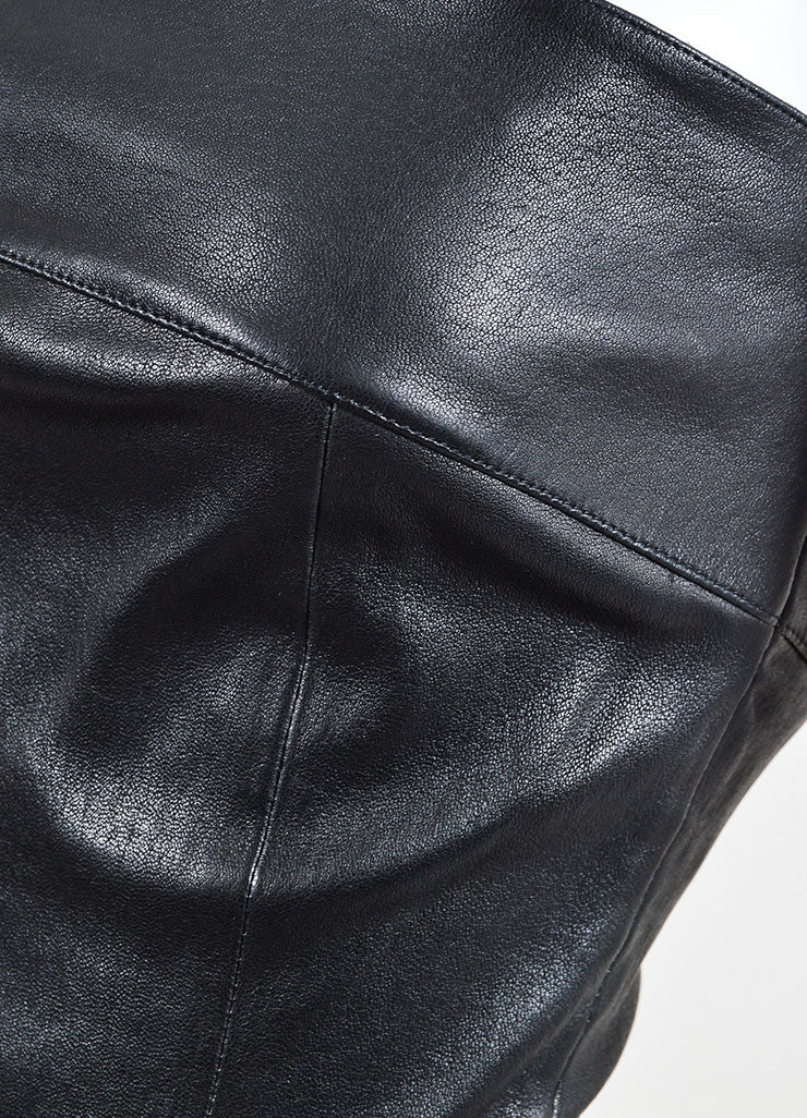 Chanel Black Leather Straight Neck Strapless Corset Top Detail