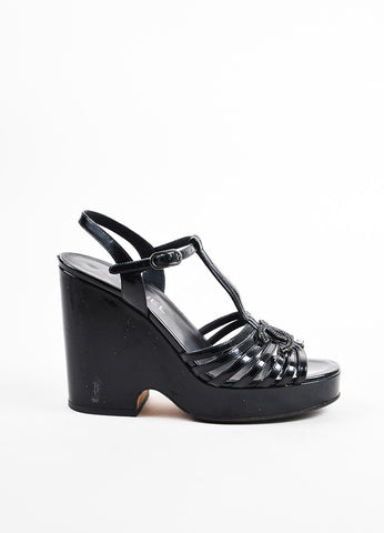 Chanel Black Patent Leather Strappy 'CC' Sandals Sideview