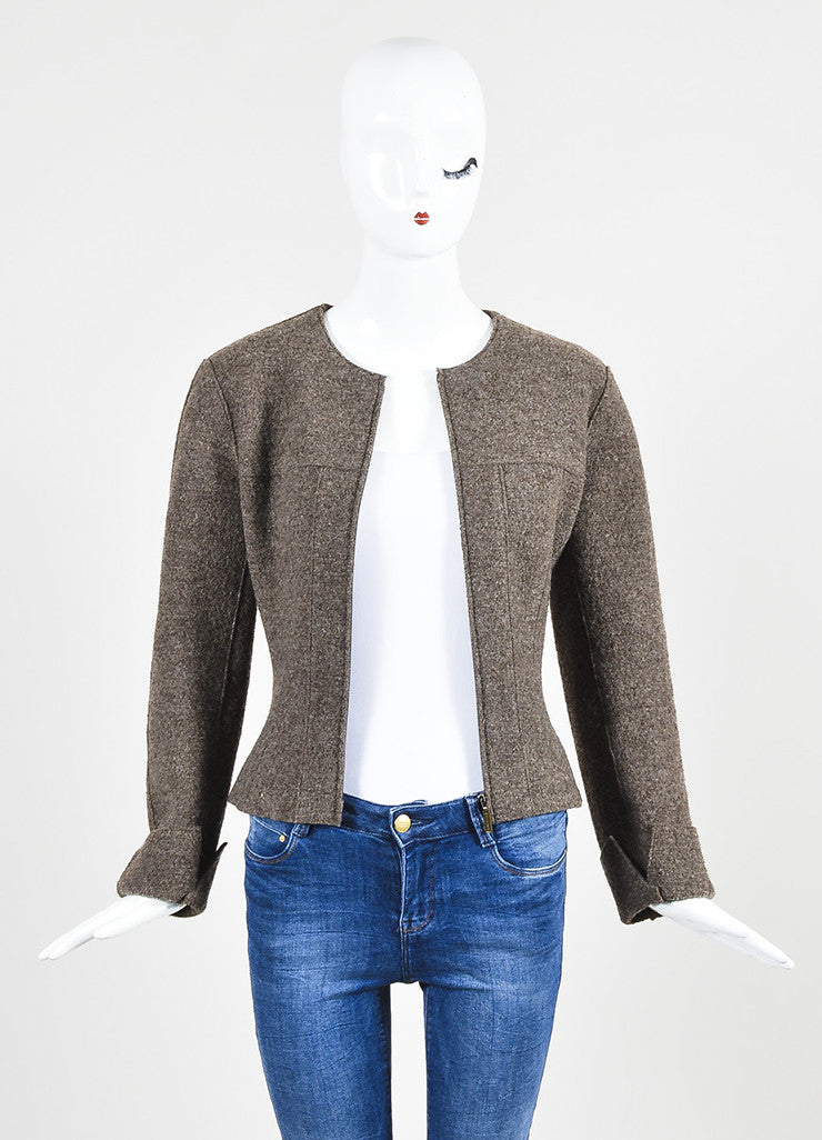 Chanel Brown Wool Textured Cuffed Zipped Jacket with Belted Pouch Frontview