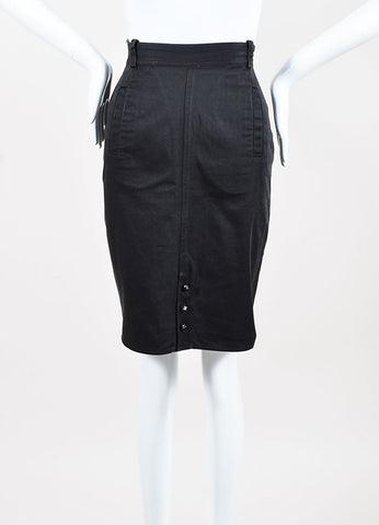 Chanel Dark Grey Cotton Denim Pencil Skirt Frontview