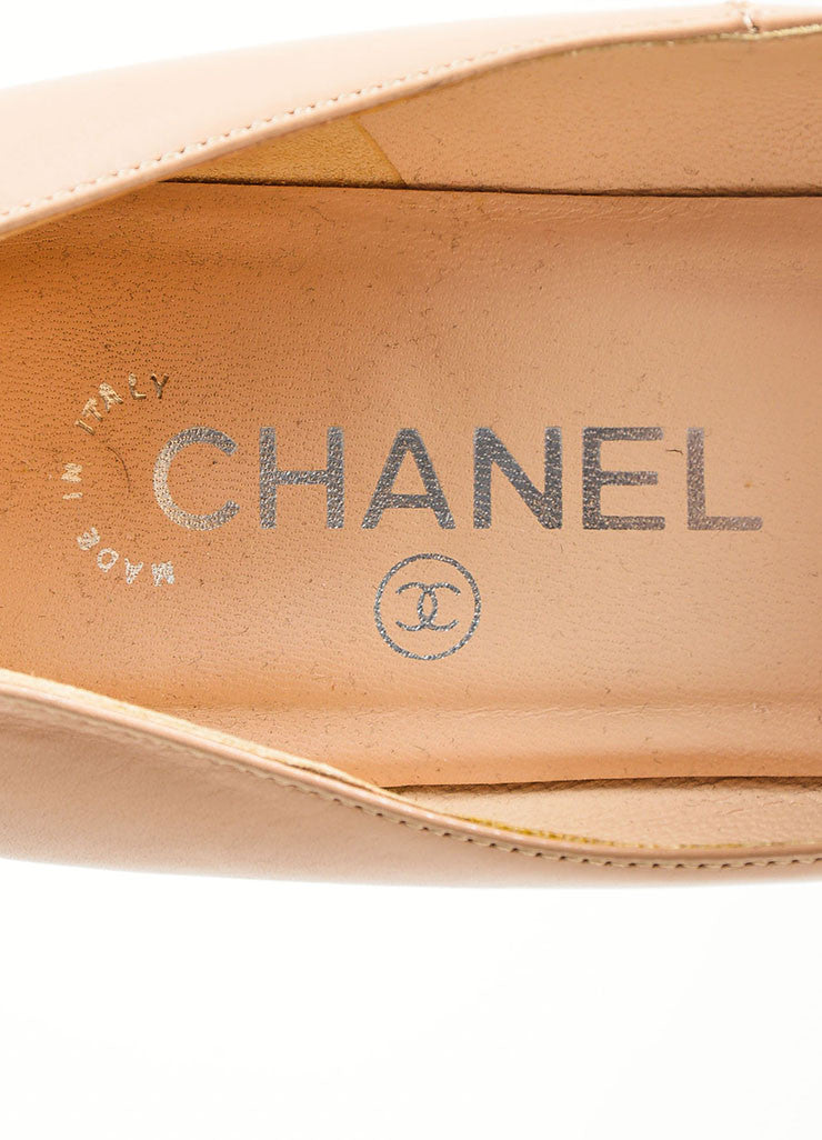 Tan Chanel Leather Chain Trim 'CC' Cork Heel Pumps Brand