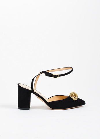 "Black Suede Charlotte Olympia ""Eileen"" Ankle Wrap Pumps Sideview"