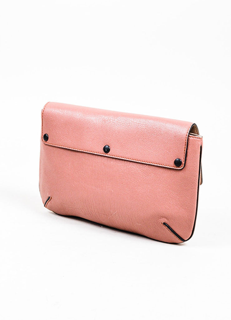 "Chloe ""Amelia"" Rose Pink Leather Gold Toned Flap Clutch Bag Sideview"