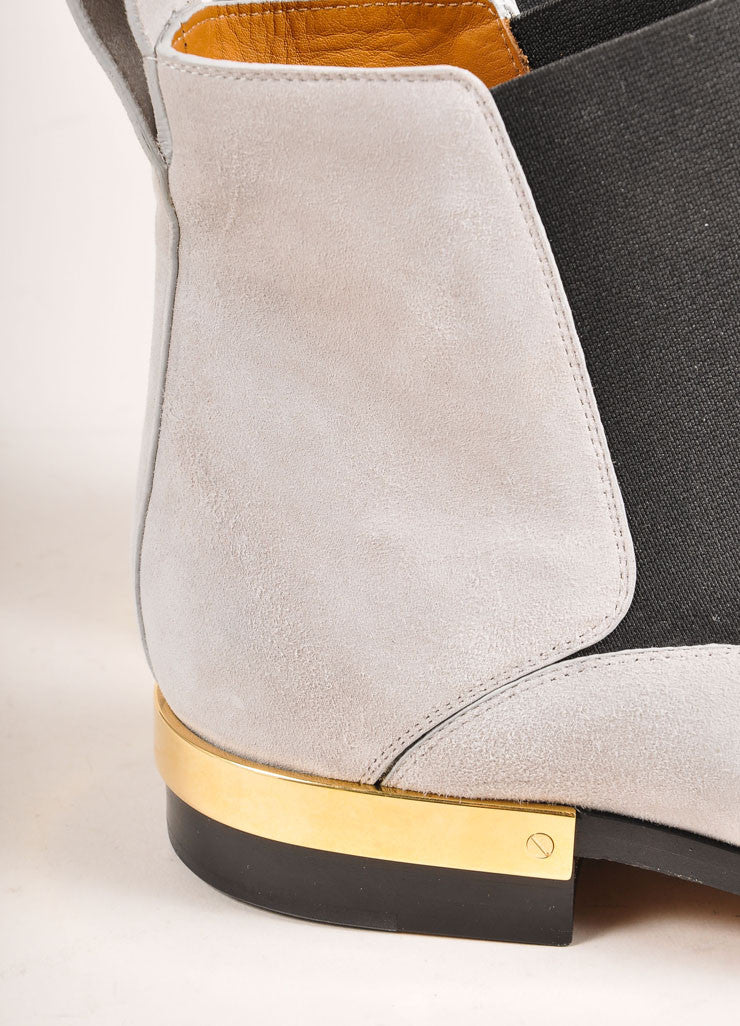 "Chloe New In Box Grey Suede and Gold Toned Heel ""Chelsea"" Ankle Boots Detail"