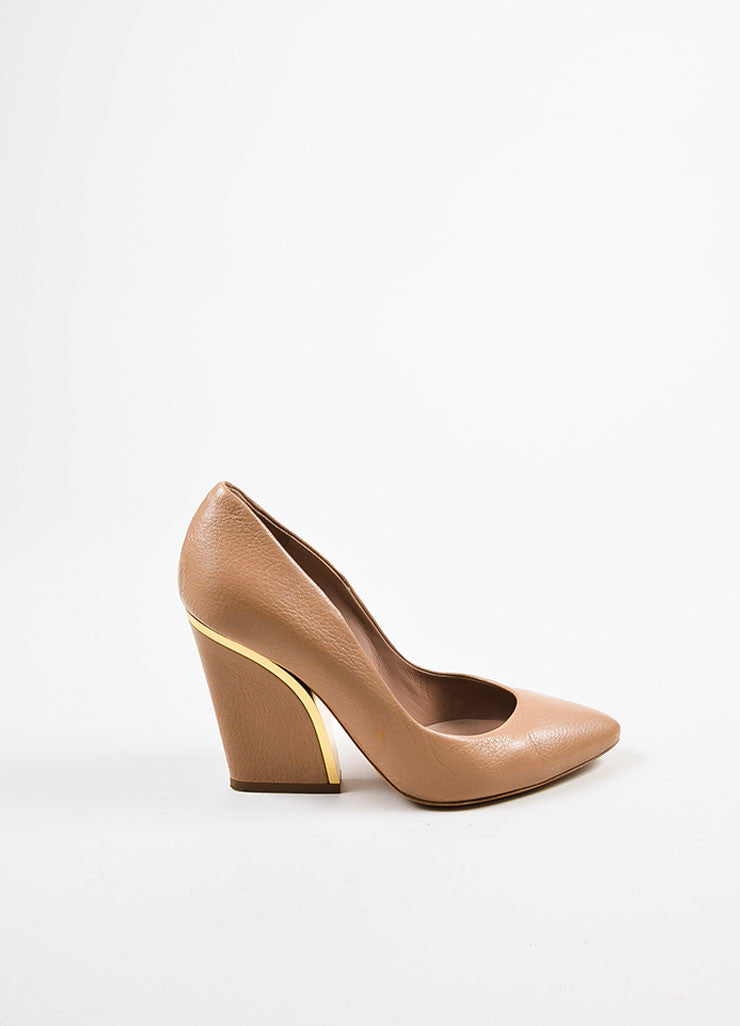 Chloe Nude and Gold Toned Leather Metallic Trim Pointed Toe Chunky Heel Pumps Sideview