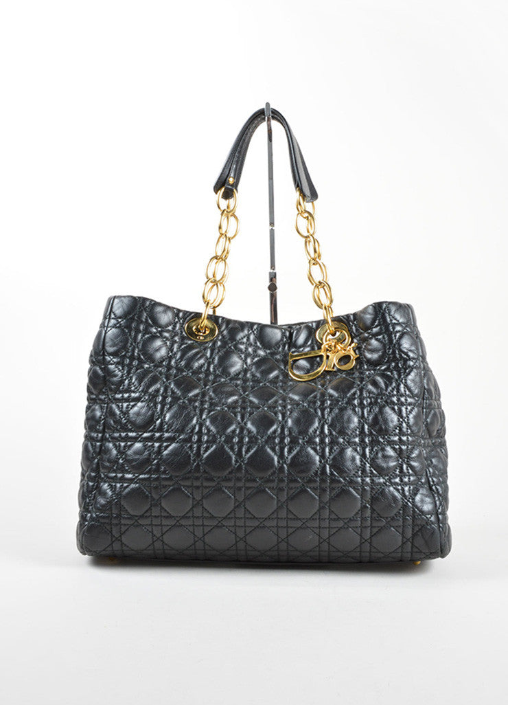 Christian Dior Black Quilted Leather Shopping Tote Front