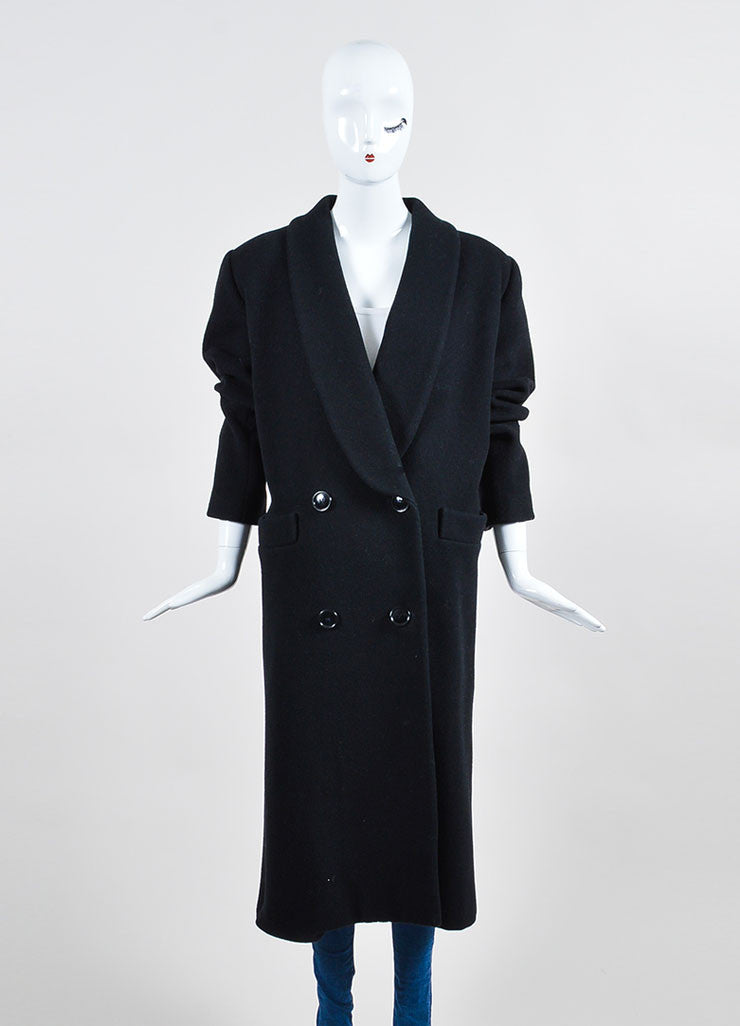 Black Christian Dior Wool Double Breasted Shawl Collar Full Length Coat Frontview 2