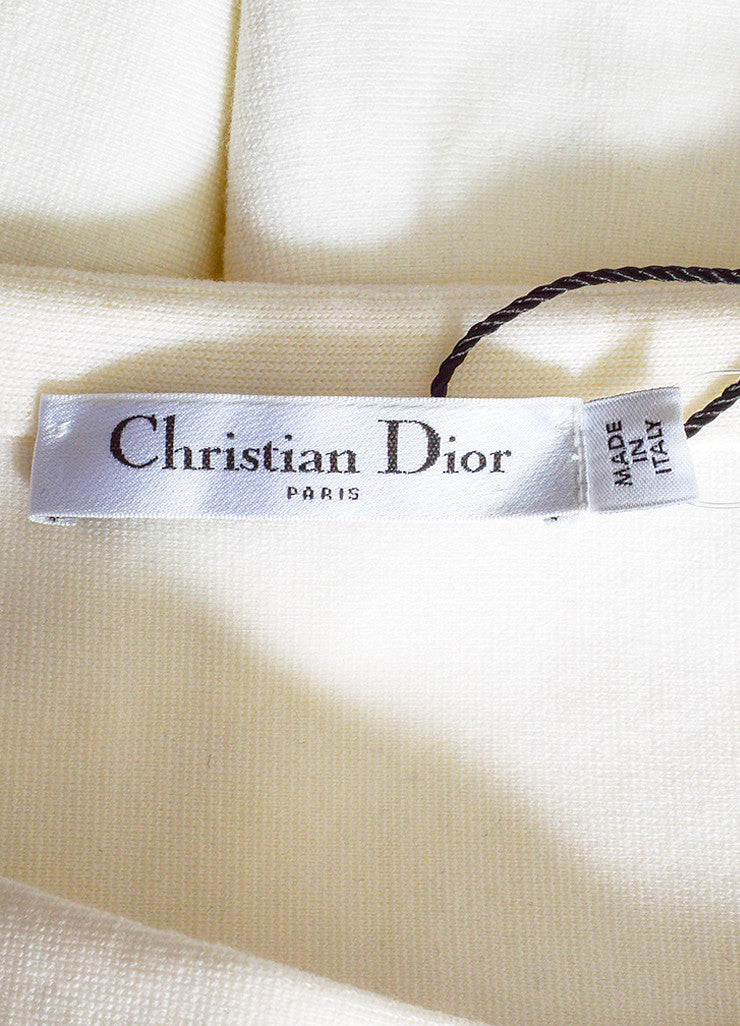 Cream and Black Christian Dior Wool Knit Off Shoulder Fit Flare Dress Brand