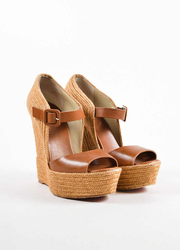 "Christian Louboutin Brown Leather ""Praia"" Platform Espadrille Wedges Frontview"
