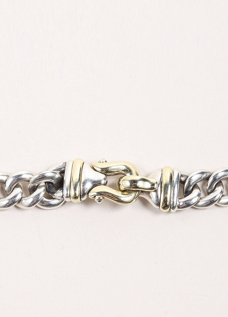 David Yurman Sterling Silver and 14K Gold Chain Link Buckle Necklace Closure