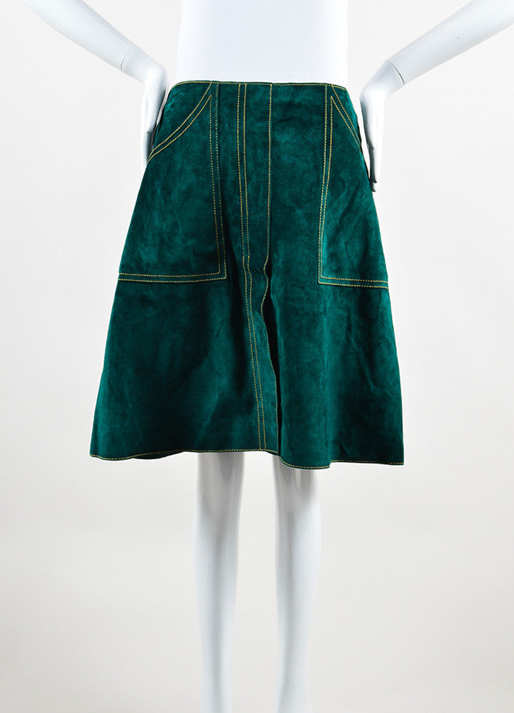 Derek Lam Green Suede Leather A Line Skirt Front