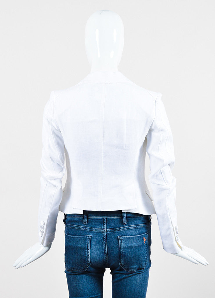Dolce & Gabbana White Linen Double Breasted Jacket Backview