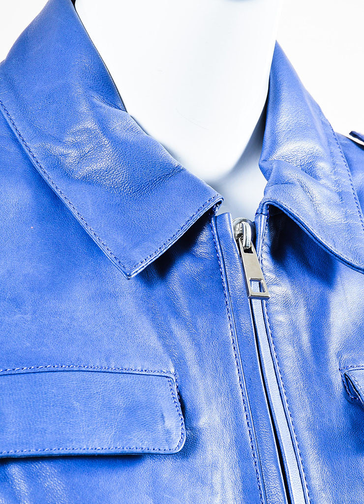 Each x Other Blue & Purple Zipped Leather Jacket detail