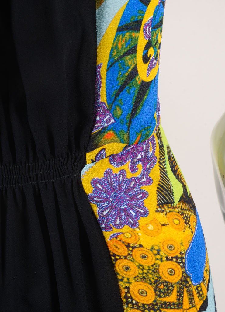 Etro New With Tags Black and Multicolor Ruched Paisley Print Sleeveless Dress Detail