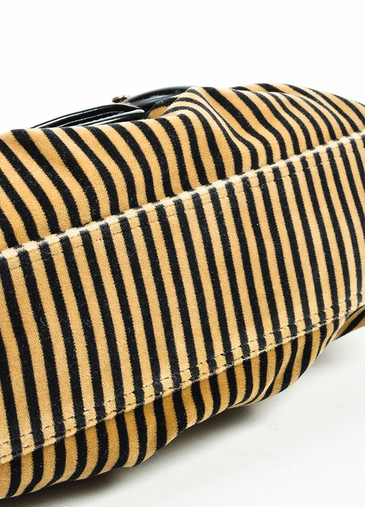 "Brown, Black, and Beige Fendi Leather and Velvet Striped and Leopard ""B"" Shoulder Bag Bottom View"