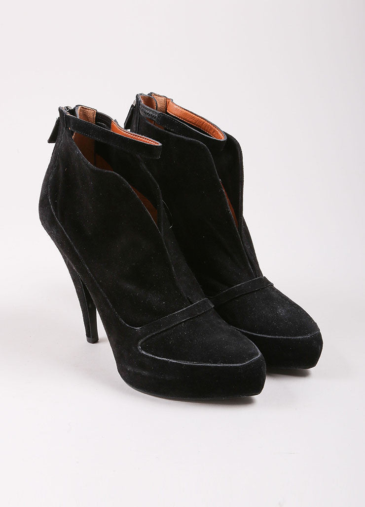 Givenchy Black Suede Leather Slit Ankle Strap Platform Booties Frontview