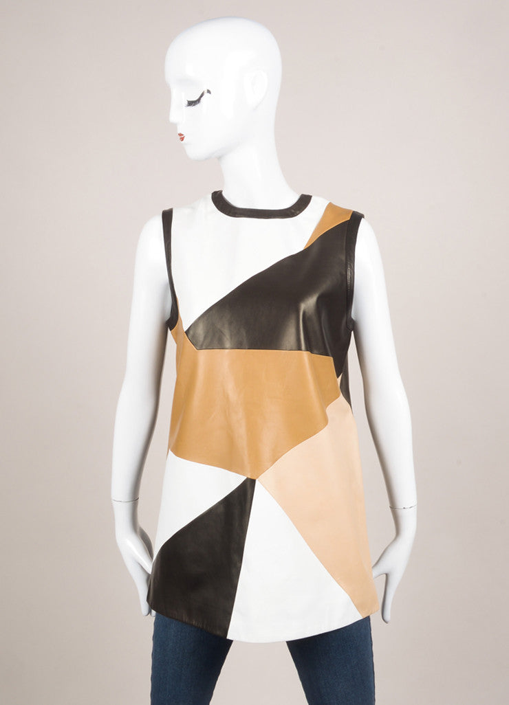 Givenchy New With Tags Multi Brown and White Leather Patchwork Sleeveless Top Frontview