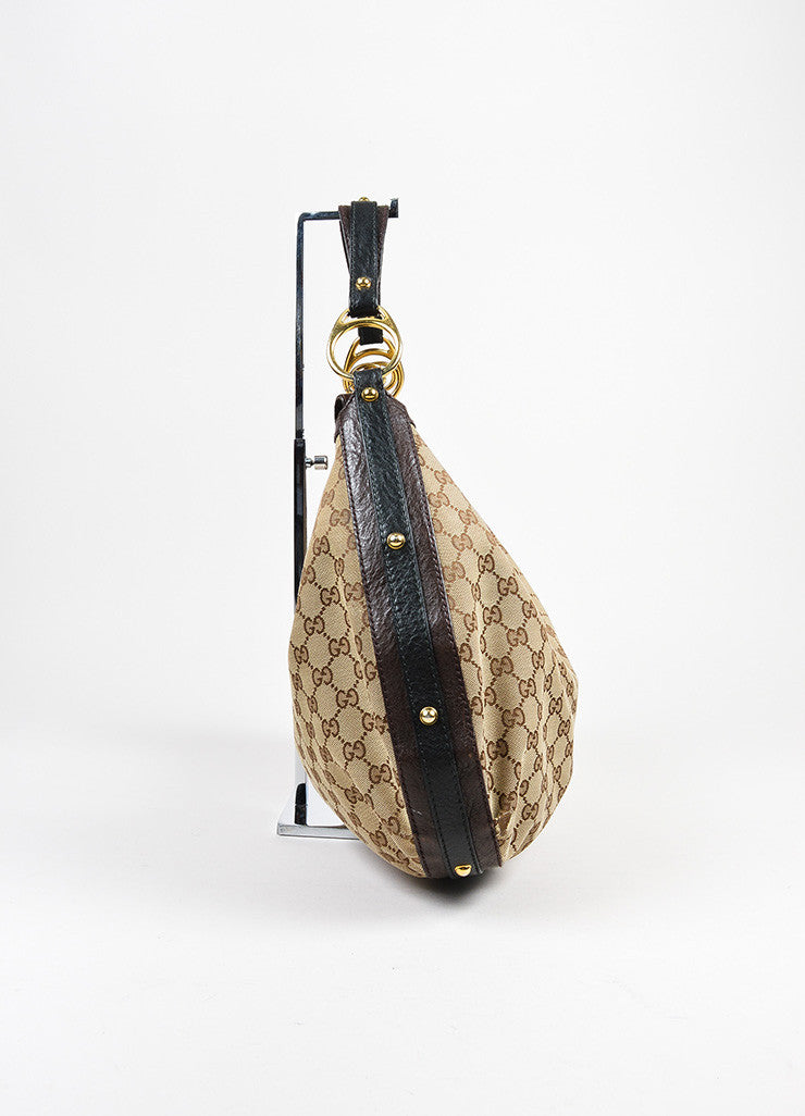 "Brown and Tan Gucci Canvas Leather 'GG' Monogram ""Interlocking"" Medium Hobo Bag Sideview"