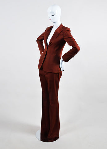 """Roasted Sand"" Red Gucci Wool Single Button Jacket Pants Suit Sideview"