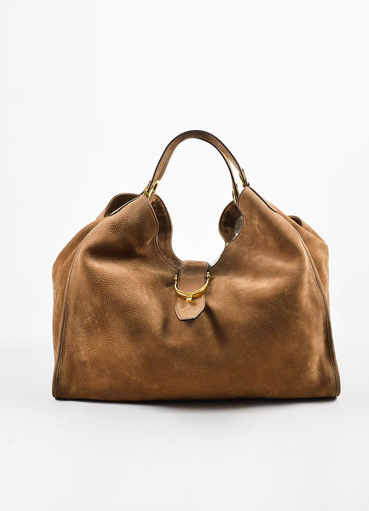 "Gucci Tan Leather ""Soft Stirrup"" Large Hobo Bag Frontview"