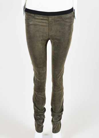 Helmut Lang Brown Suede Leather Legging Pants  Frontview