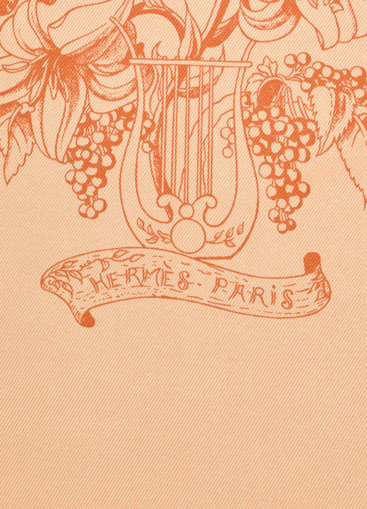 "Hermes Light Orange and Red Silk Twill Graphic Print ""Au Pays de Cocagne""  Scarf Brand"