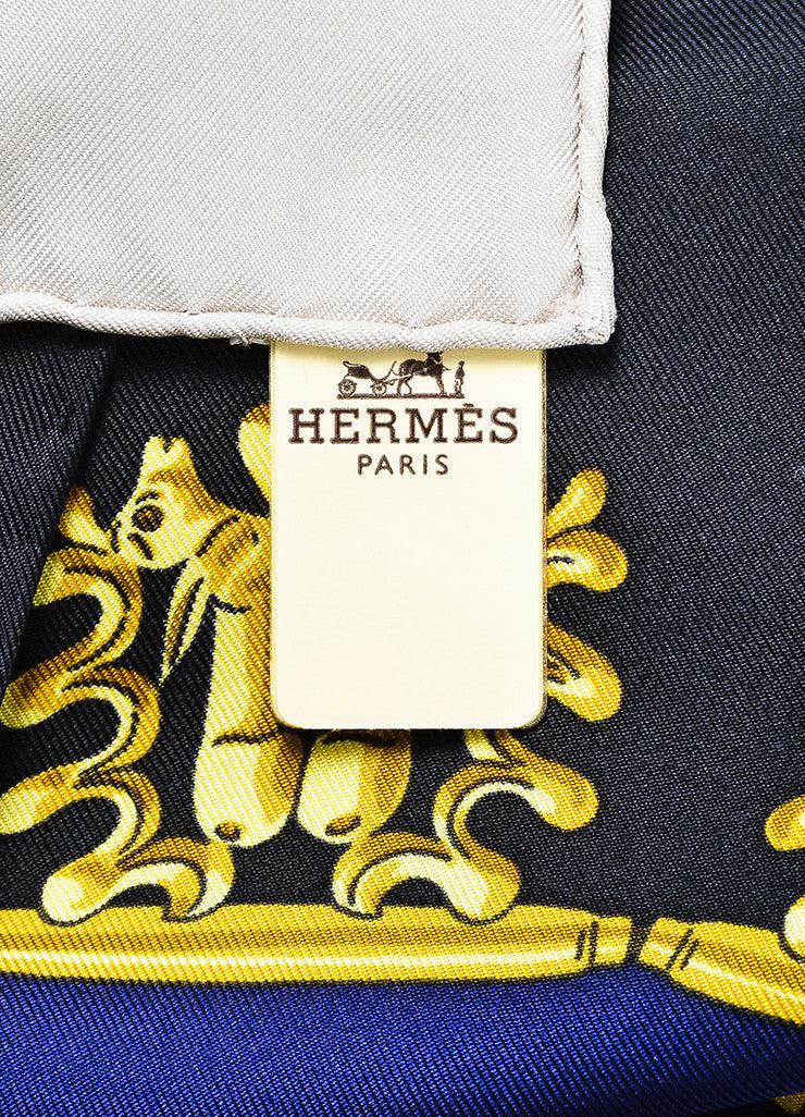 "Hermes Navy, Gold, and Pale Silver Silk ""Les Cavaliers D'Or"" Scarf Tunic Brand"
