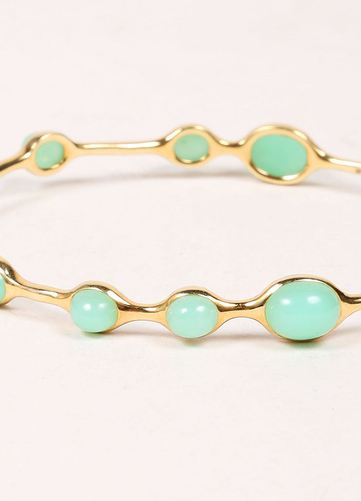 Ippolita 18K Gold and Green Chrysoprase Stone Embellished Bangle Bracelet Detail