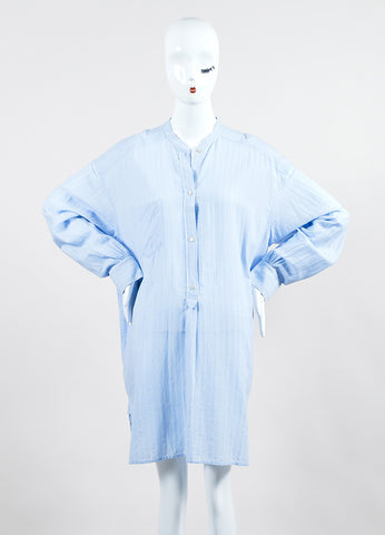 "Isabel Marant Etoile Light Blue Cotton ""Nita"" Long Sleeve Shirt Dress Frontview"