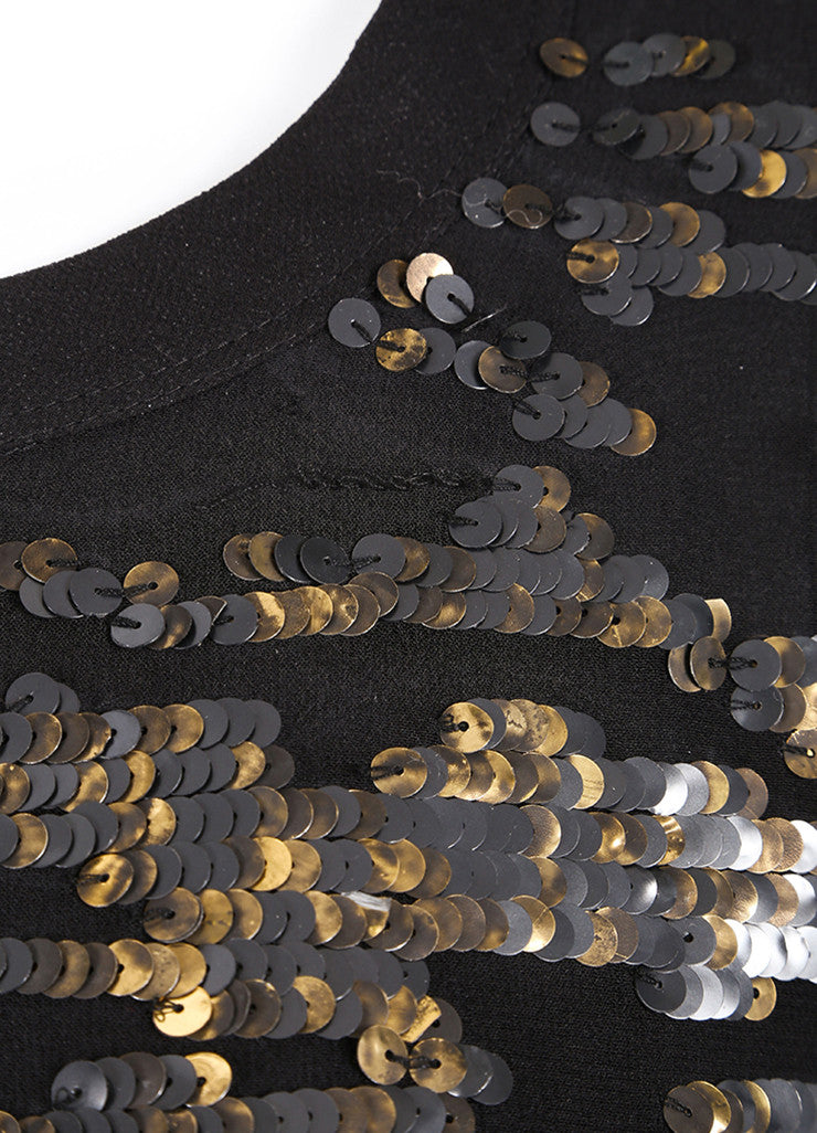 Isabel Marant New With Tags Black Silk Metallic Gold Sequin Tunic Top Detail