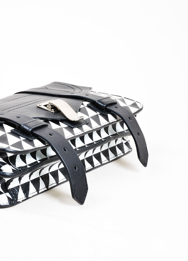 "Black and White Proenza Schouler Printed Leather ""PS1 Pochette"" Clutch Bag Bottom View"