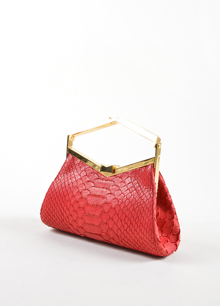 J. Mendel Raspberry Red Python Leather and Metal Clutch Bag Sideview