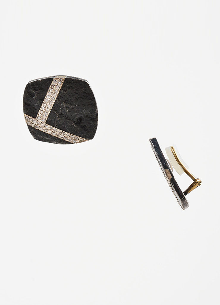 Black Steel, 14K Gold, and Diamond Jaclyn Davidson Square Clip On Earrings Sideview