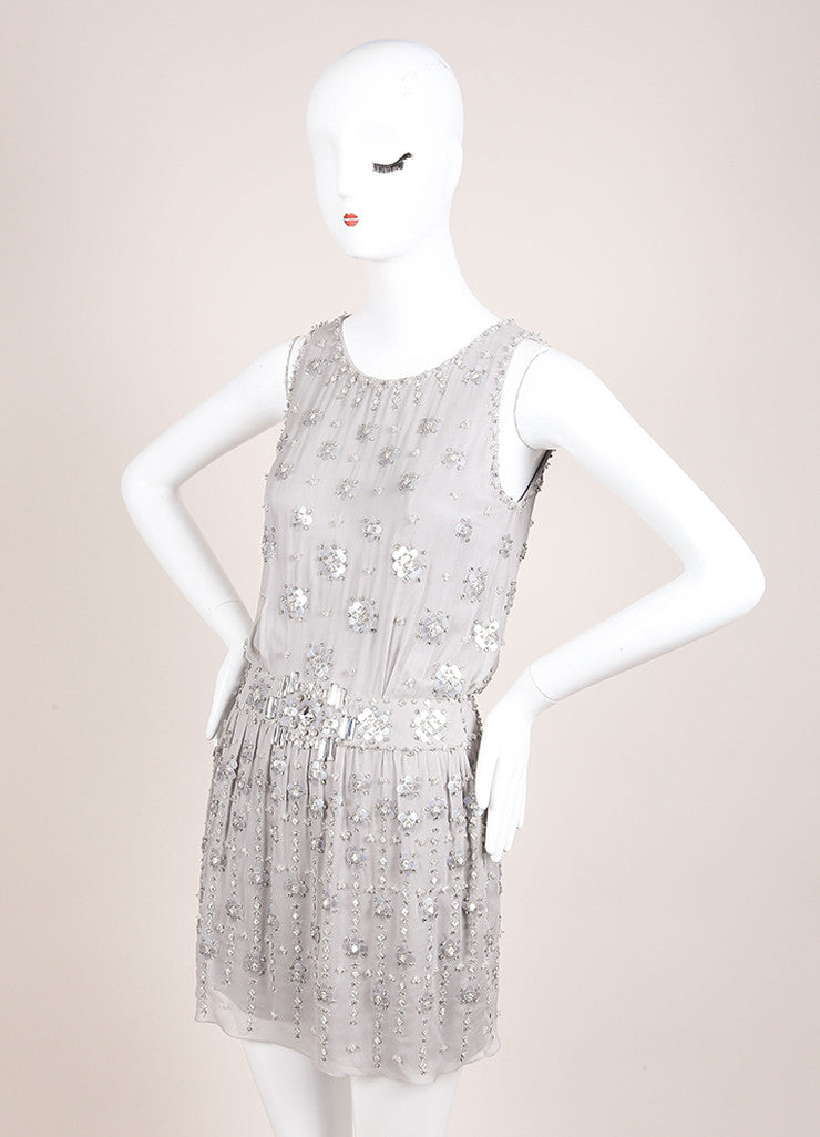 Jenny Packham Grey Silk Beaded Rhinestone Embellished Mini Dress Sideview