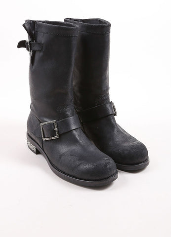 Jimmy Choo Black Distressed Leather Rhinestone Heel Buckle Biker Boots Frontview