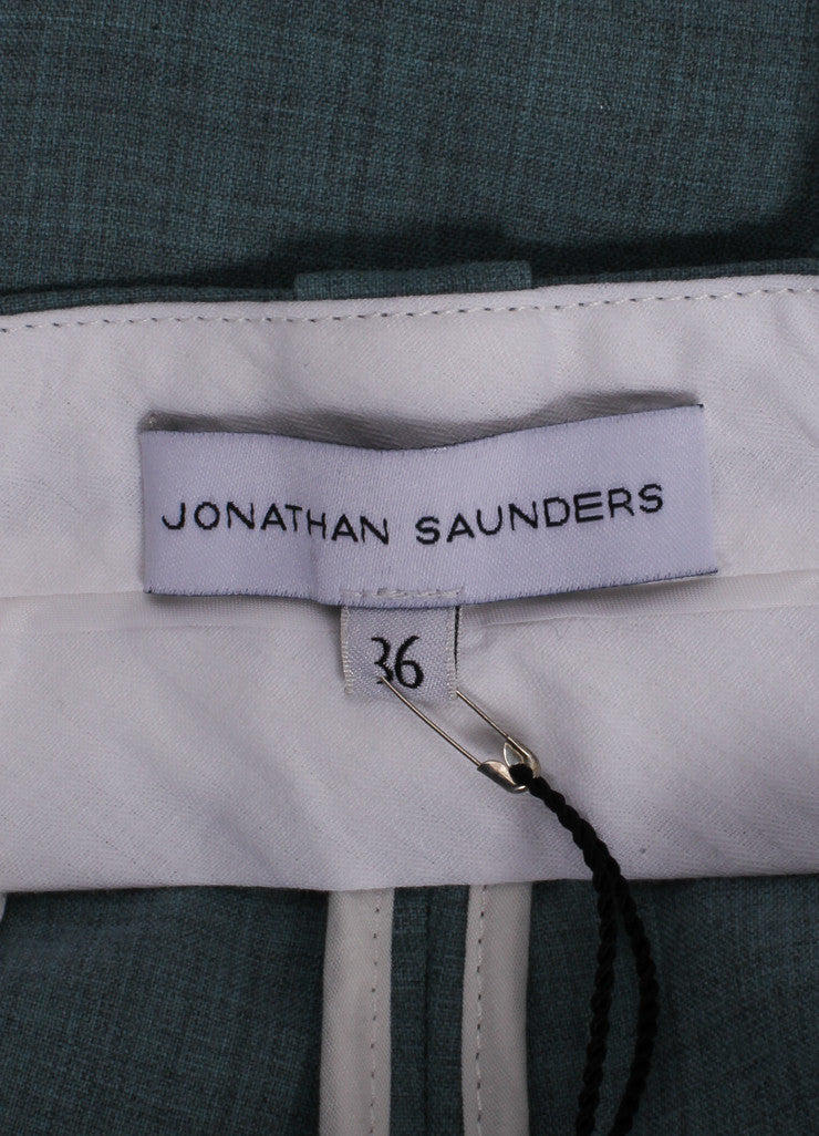 "Jonathan Saunders New With Tags Blue and Cream ""Nadine"" Ankle Tux Trousers Brand"