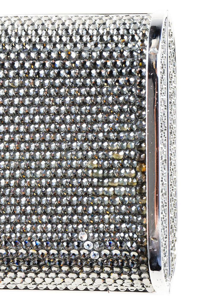 Silver Judith Leiber Rhinestone Embellished Minaudiere Clutch Bag Detail 2