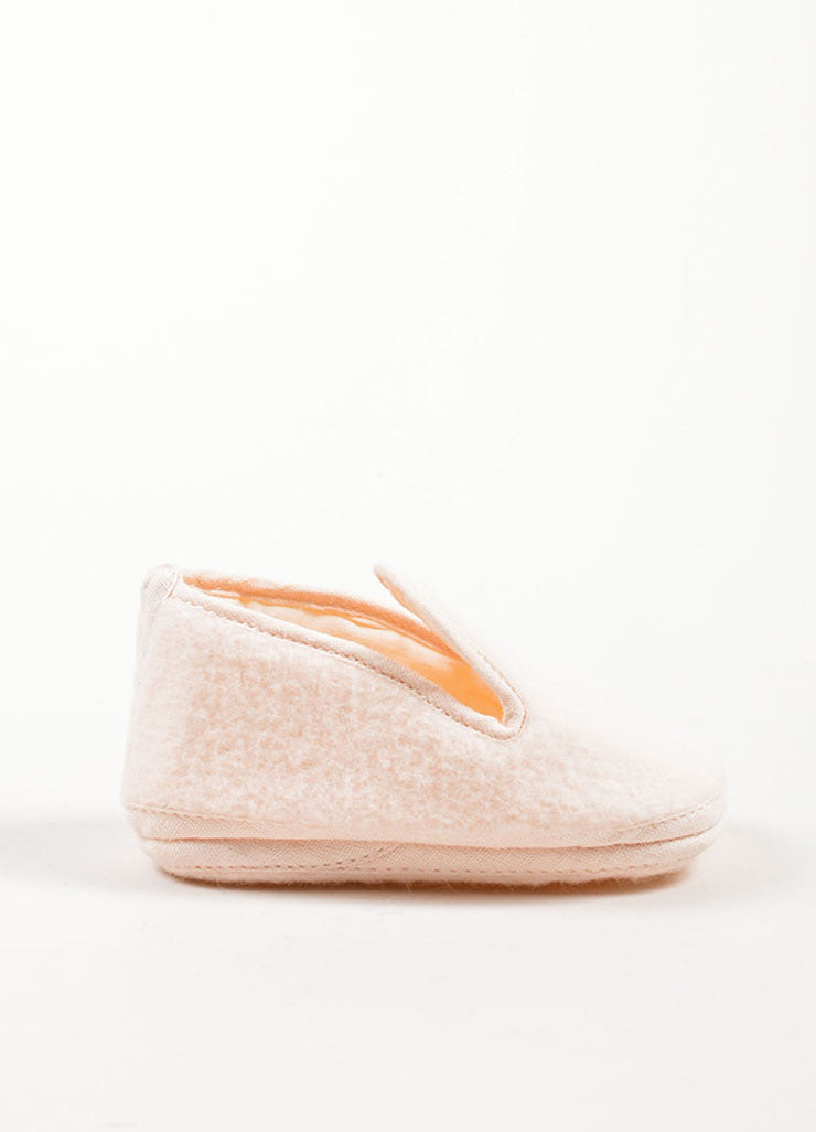 Hermes Pale Pink Wool and Angora Blend Baby Shoes Sideview