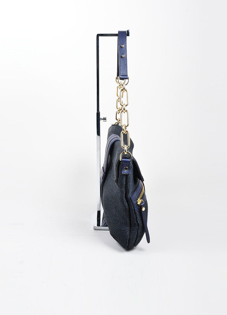 "Black and Navy Blue Lanvin Woven Leather ""Hero"" Chain Shoulder Bag Sideview"