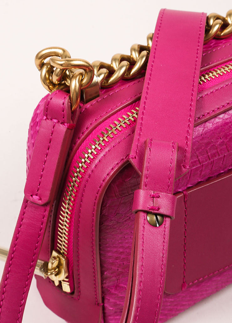 "Lanvin NWT $1890 Fuchsia Snakeskin Leather ""Mini Padam"" Shoulder Bag Detail 2"