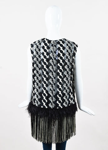 Lela Rose Black and White Sheer Ostrich Feather Fringe Sleeveless Blouse Backview