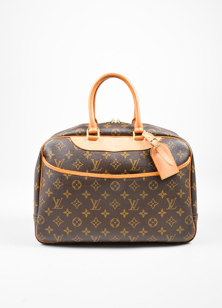 "Brown and Tan Louis Vuitton Coated Canvas Monogram ""Deauville"" Travel Handbag Frontview"
