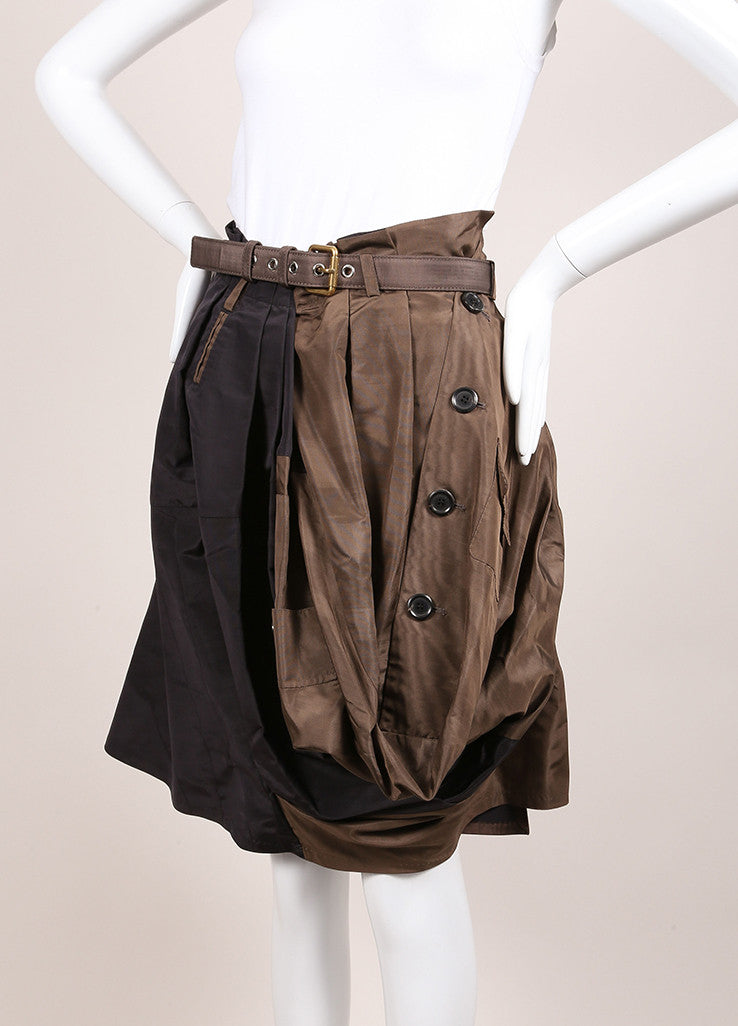 Louis Vuitton Black and Brown Silk Pleated Button Bubble Hem Belted Skirt Sideview