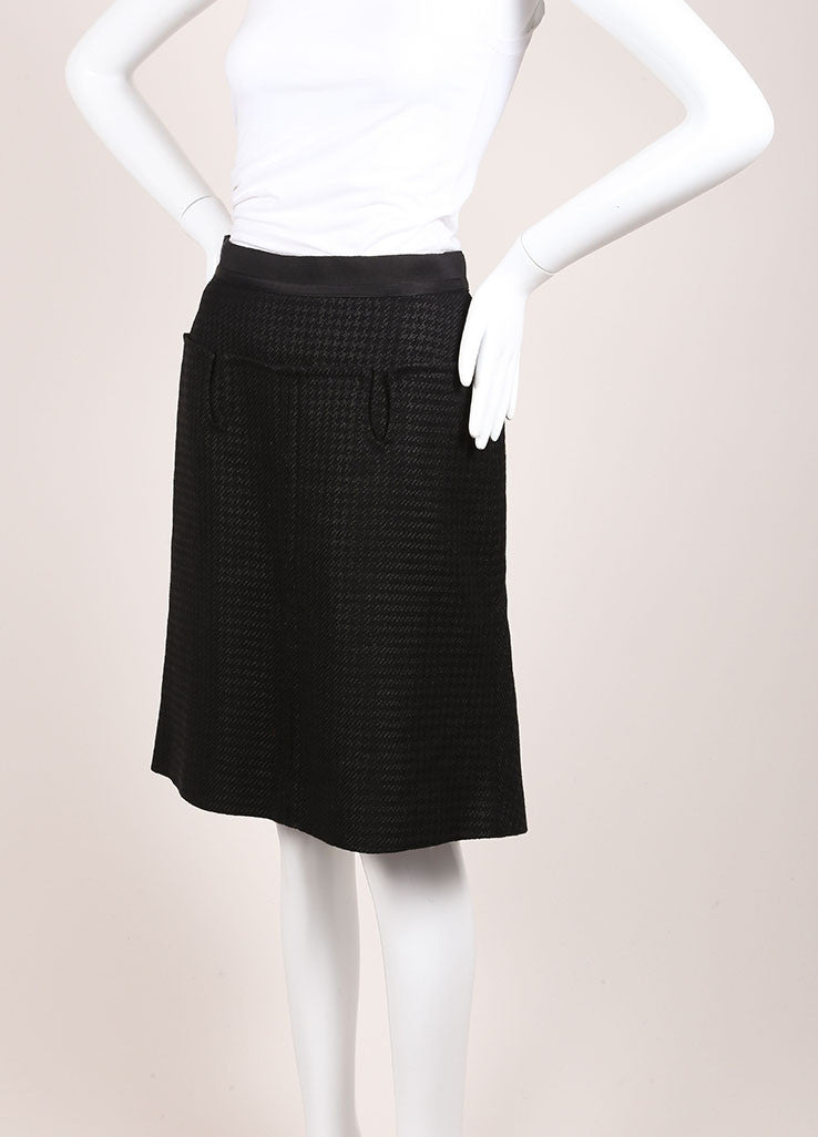 Louis Vuitton Black and Grey Wool and Linen Blend Houndstooth A-Line Skirt Sideview