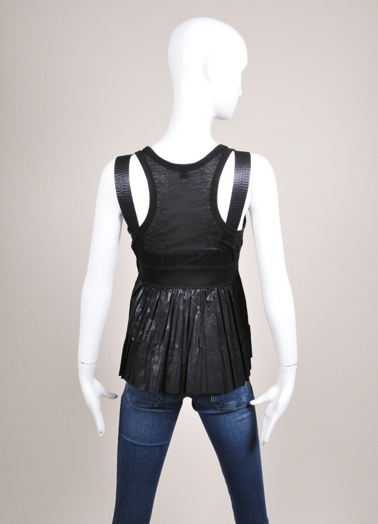 Louis Vuitton Black Knit Coated Detail Sheer Sleeveless Top Backview