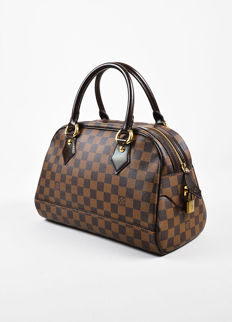"Louis Vuitton Brown ""Ebene Damier"" Coated Canvas Checkered ""Duomo"" Satchel Bag Sideview"