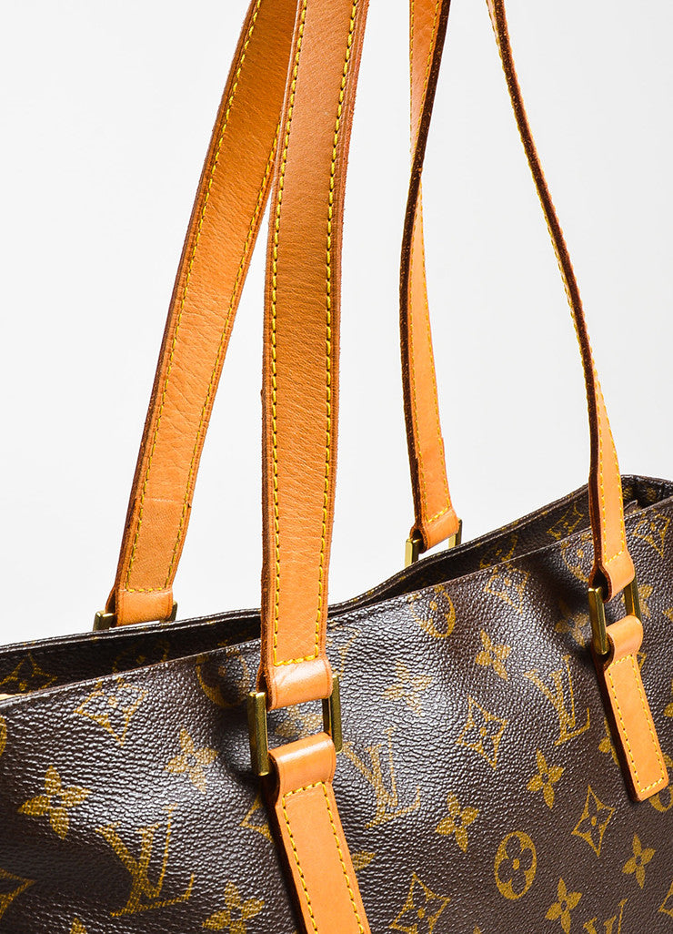 "Louis Vuitton Brown Monogram Coated Canvas ""Cabas Piano"" Bag Detail 3"